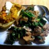 Sauteed Seitan with Mushrooms and Spinach with Stuffed Potatoes on the Side